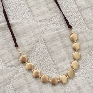 LOFT Satin Gold Hexagon Necklace